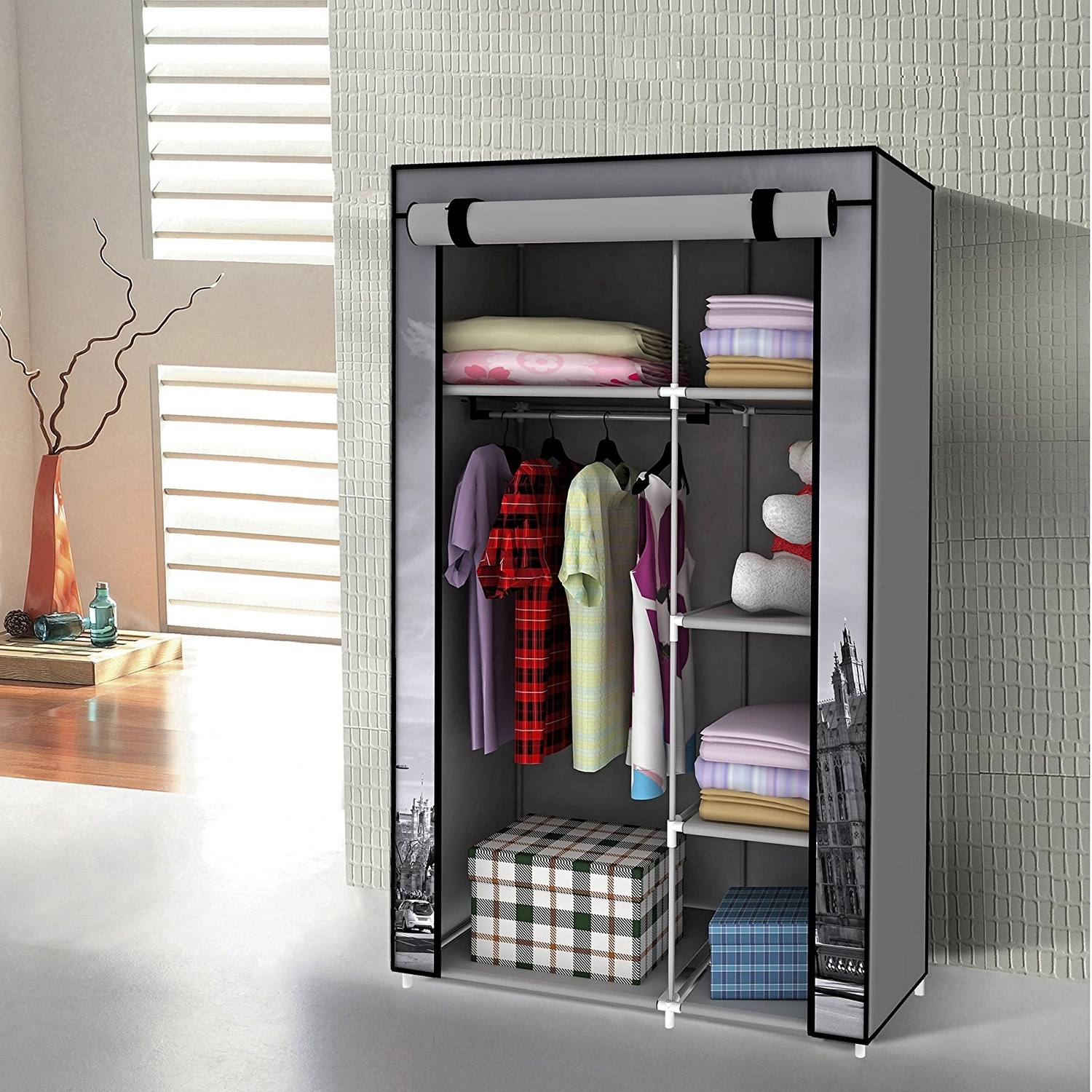 Trendy Furniture : Wooden Garment Rack Clothes Valet Heavy Duty Portable Throughout Double Canvas Wardrobes Rail Clothes Storage Cupboard (View 13 of 15)