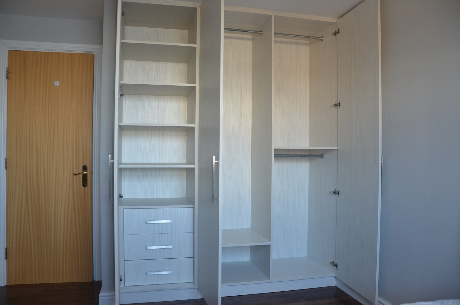Trendy Hacienda White 3 Doors, Canary Wharf E14 In 3 Door Wardrobes With Drawers And Shelves (View 14 of 15)