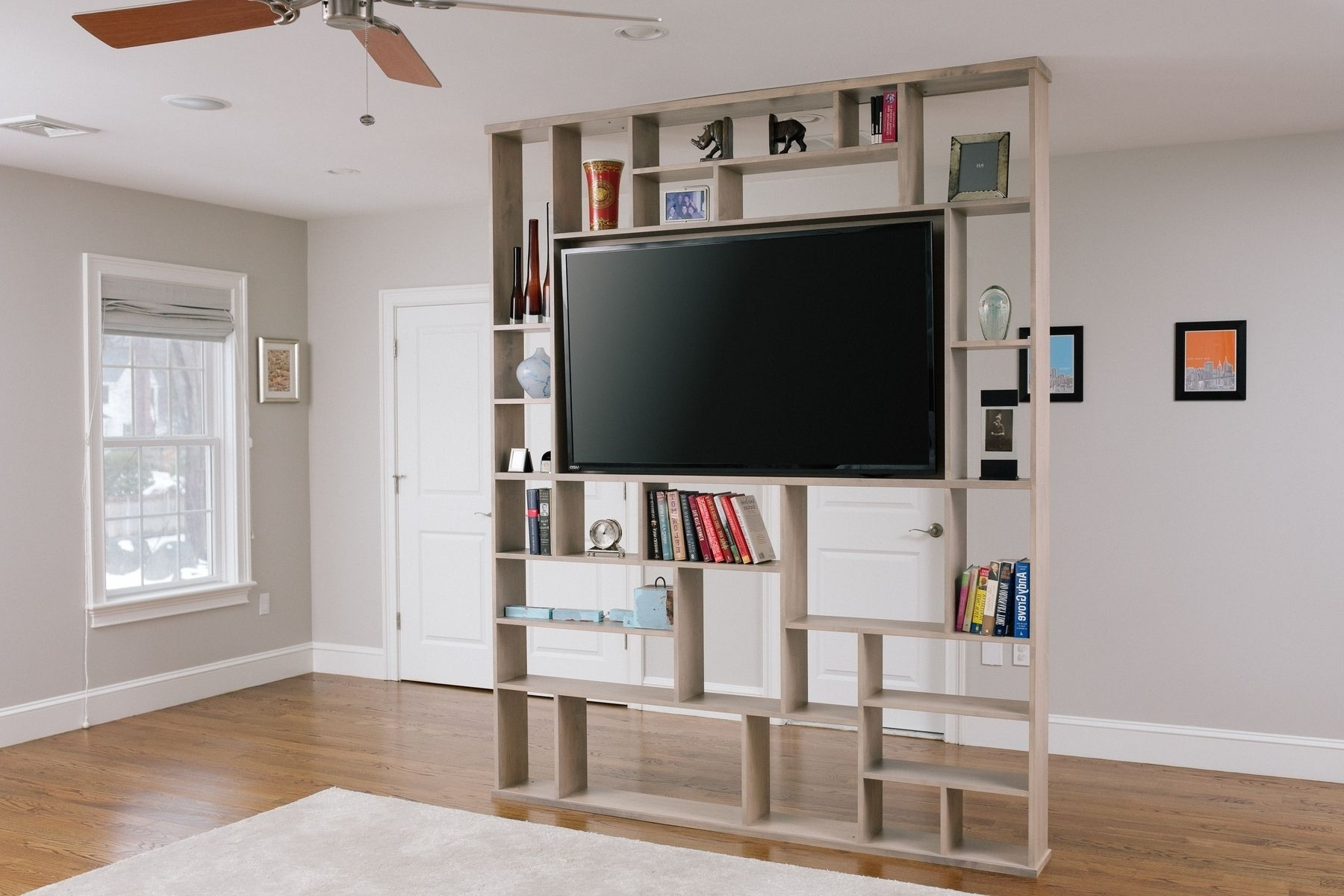 Trendy Hand Crafted Lexington Room Divider / Bookshelf / Tv Standcorl Within Tv Stand Bookcases (View 12 of 15)