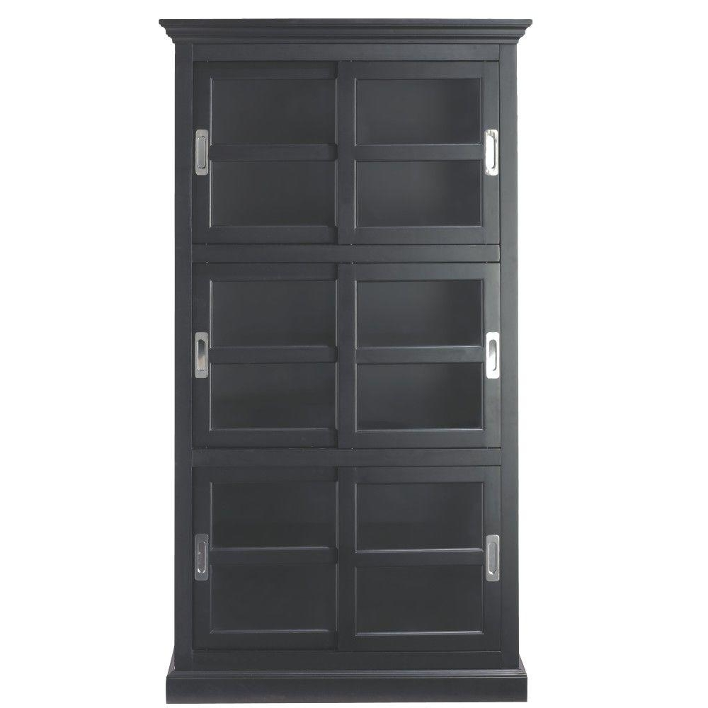 Trendy Home Decorators Collection Lexington Black Glass Door Bookcase With Black Bookcases With Doors (View 3 of 15)