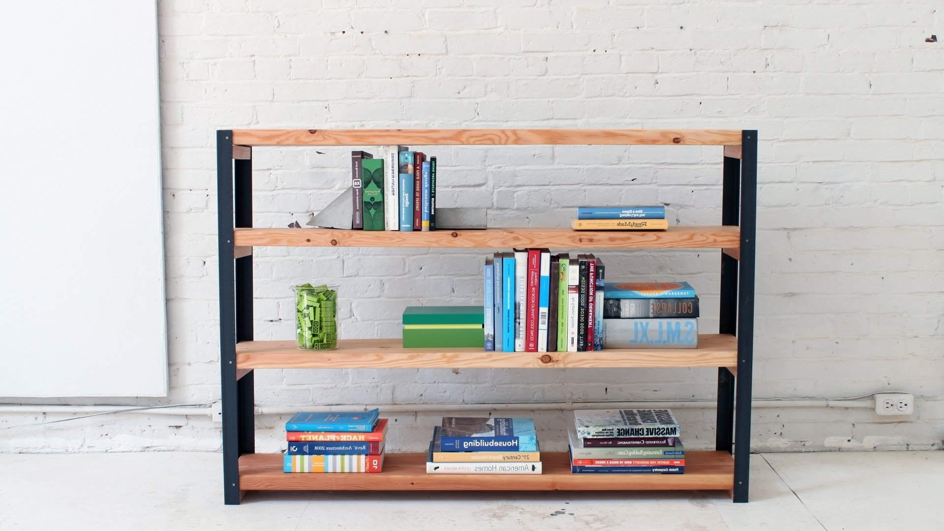 Trendy How To Make An Ironbound Diy Bookcase Out Of Angle Irons And 2X10S Inside Diy Bookcases (View 13 of 15)