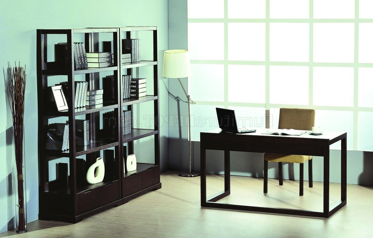 Trendy Office Bookcases Intended For Wenge Finish Contemporary Home Office W/desk & Bookcases (View 12 of 15)