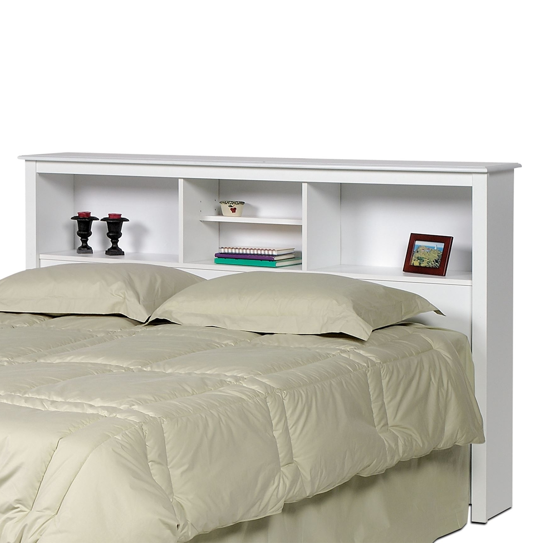 Trendy Queen Bookcases Headboard Pertaining To Monterey White Double / Queen Bookcase Headboard (View 13 of 15)