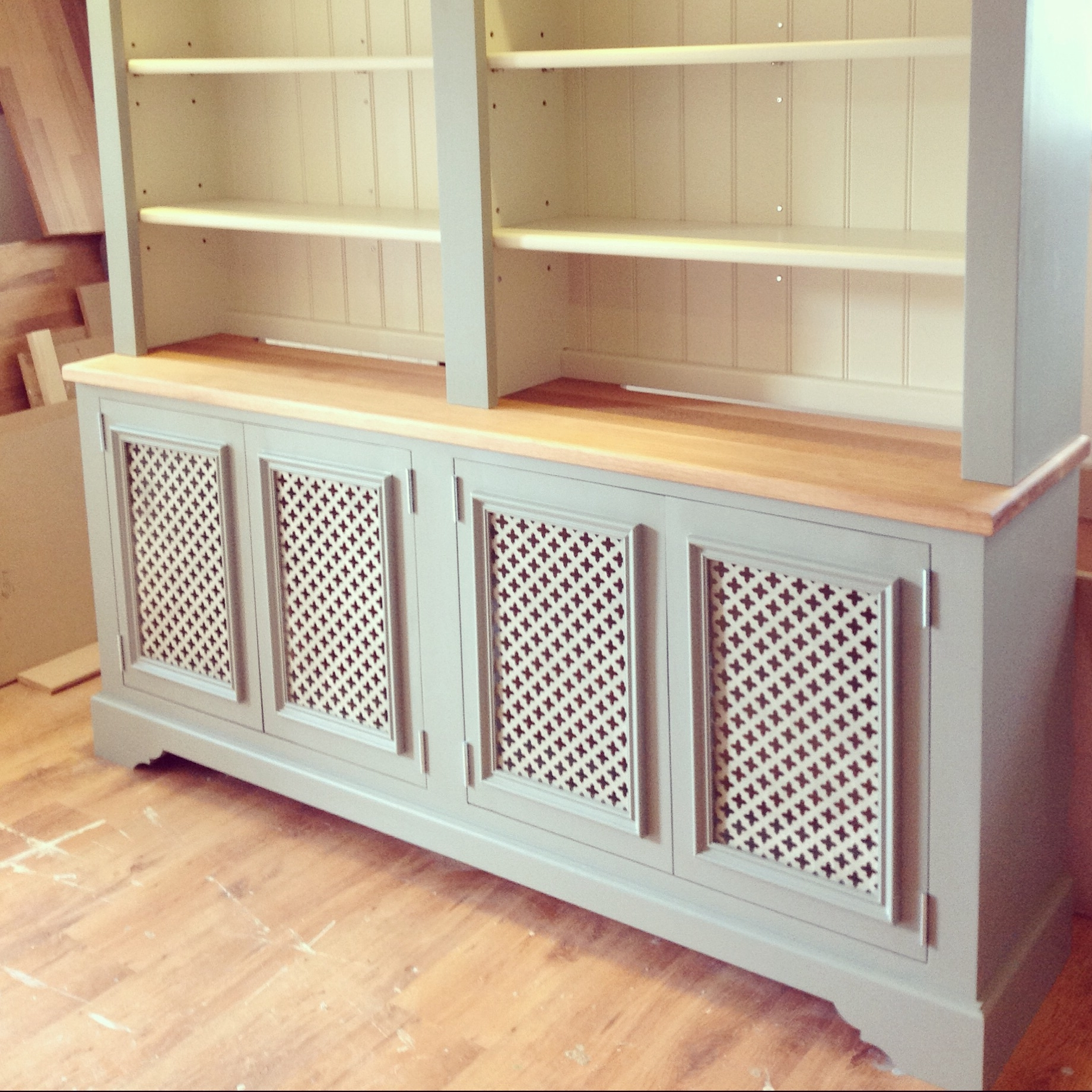 Trendy Radiator Cover / Dresser, Painted In Farrow & Ball {Lime White Within Radiator Cover With Bookcases Above (View 12 of 15)