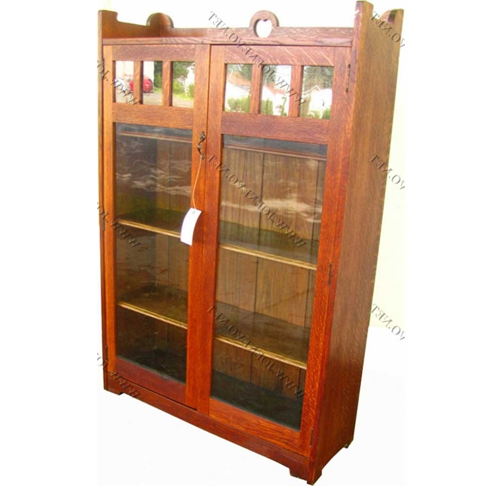 Trendy Stickley Bookcases With Regard To Antique Stickley Bros Two Door Bookcase – Joenevo (View 8 of 15)