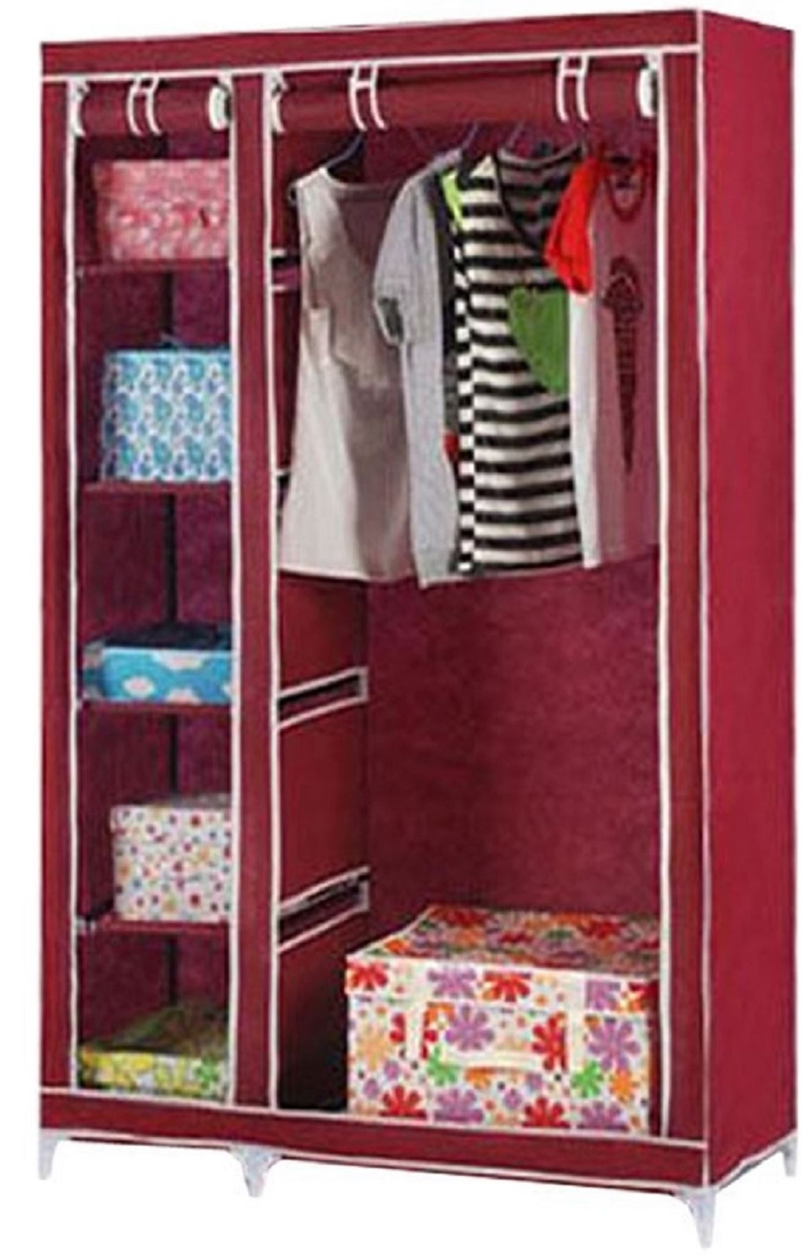 Trendy Vinsani Double Canvas Wardrobe Clothes Cupboard Hanging Rail Intended For Double Wardrobes Hanging Rail And Supports (View 14 of 15)