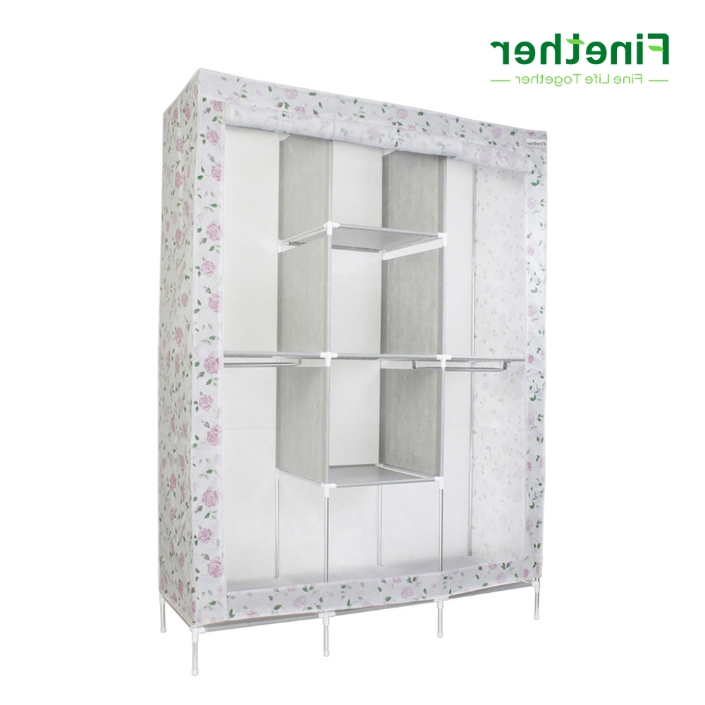 Trendy Wardrobe Double Hanging Rail In Finether Double Modular Metal Framed Fabric Wardrobe Clothes (View 5 of 15)