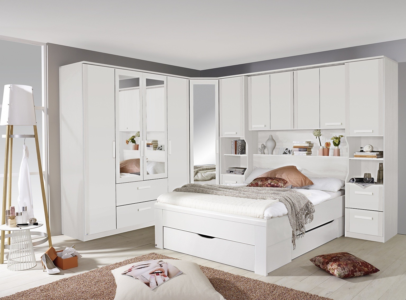 Trendy White Overbed Wardrobe Systems, Fitted Bedroom Furniture Regarding Overbed Wardrobes (View 15 of 15)