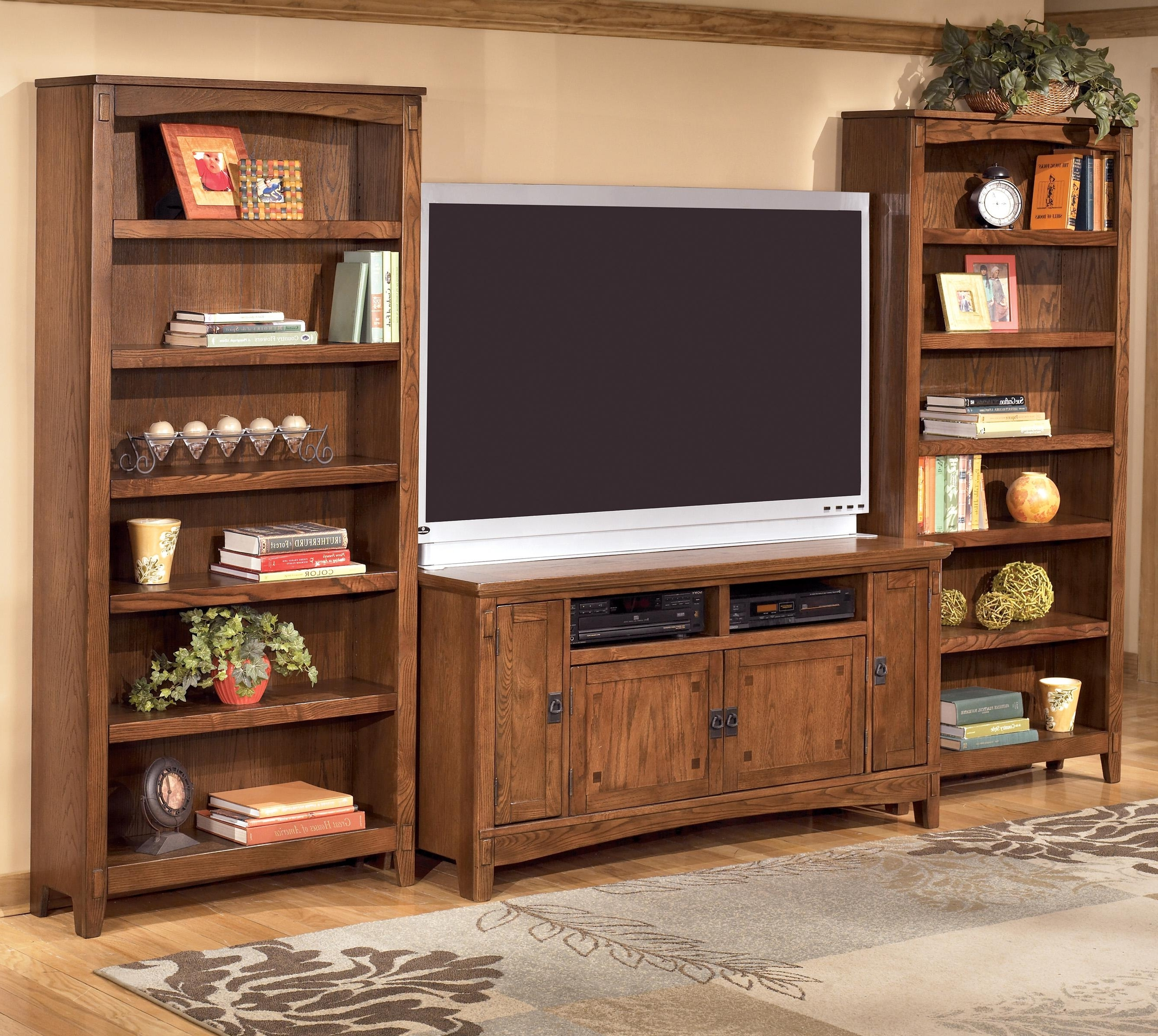 Tv And Bookshelves With Fashionable 60 Inch Tv Stand & 2 Large Bookcasesashley Furniture (View 12 of 15)