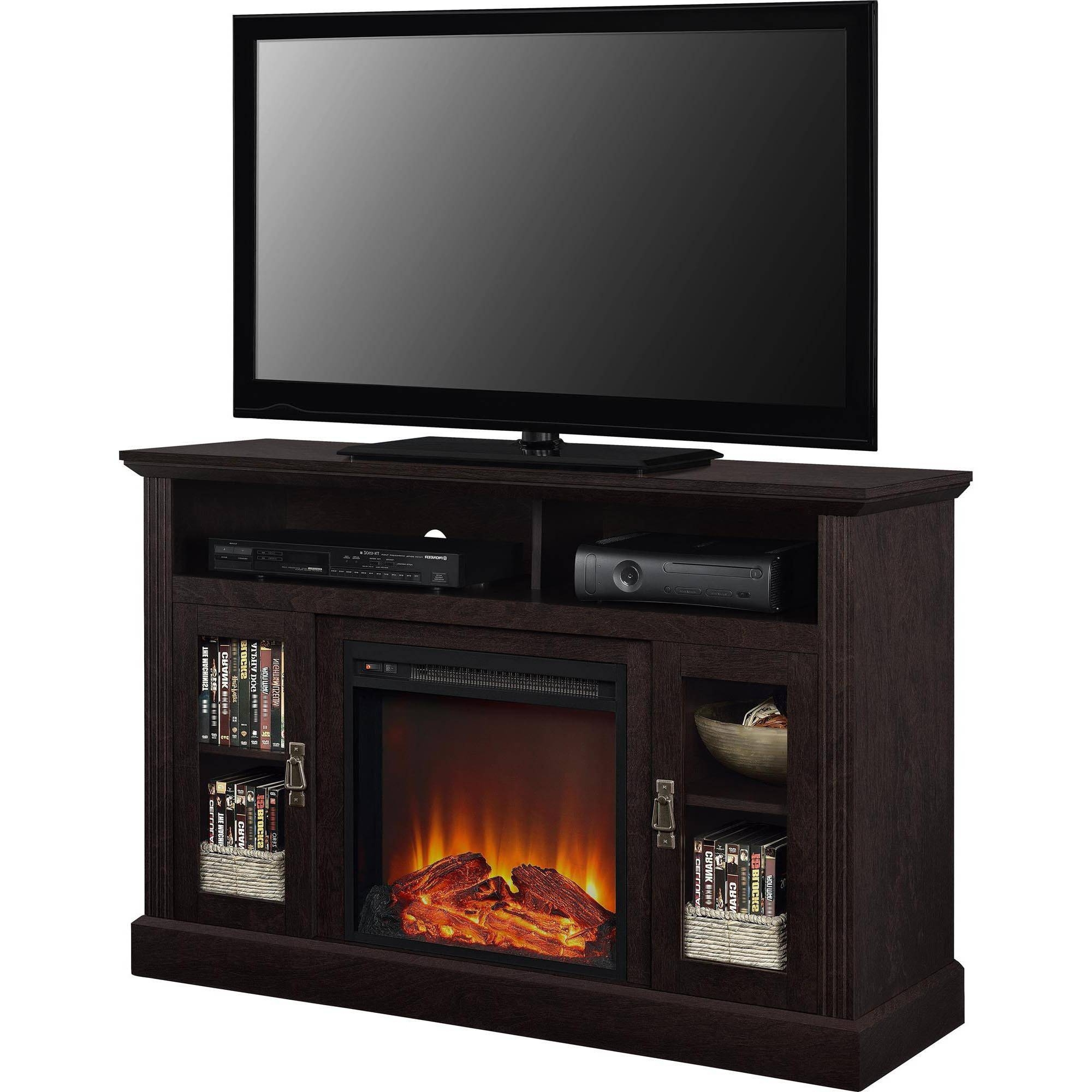 Tv Stand Bookcases Combo Intended For 2018 Fireplace Tv Stands – Walmart (View 12 of 15)