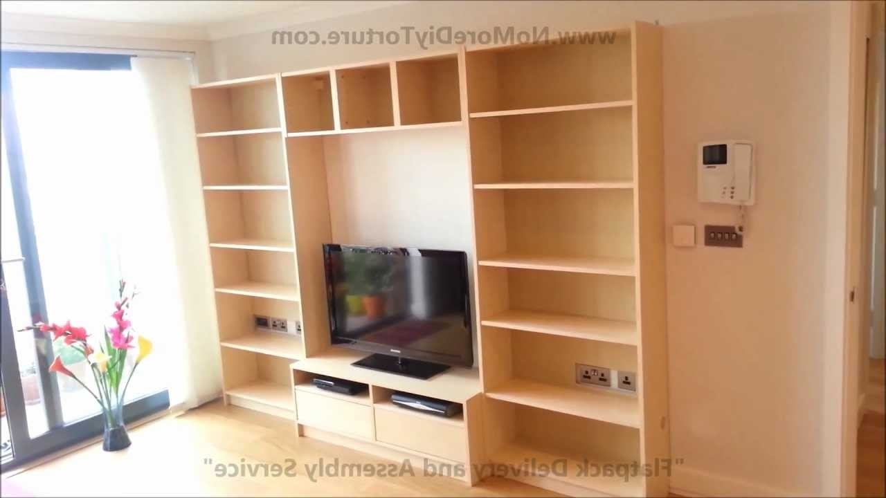 Tv Stand Bookcases Within Best And Newest Ikea Billy Benno Tv Stand With Storage – Youtube (View 10 of 15)