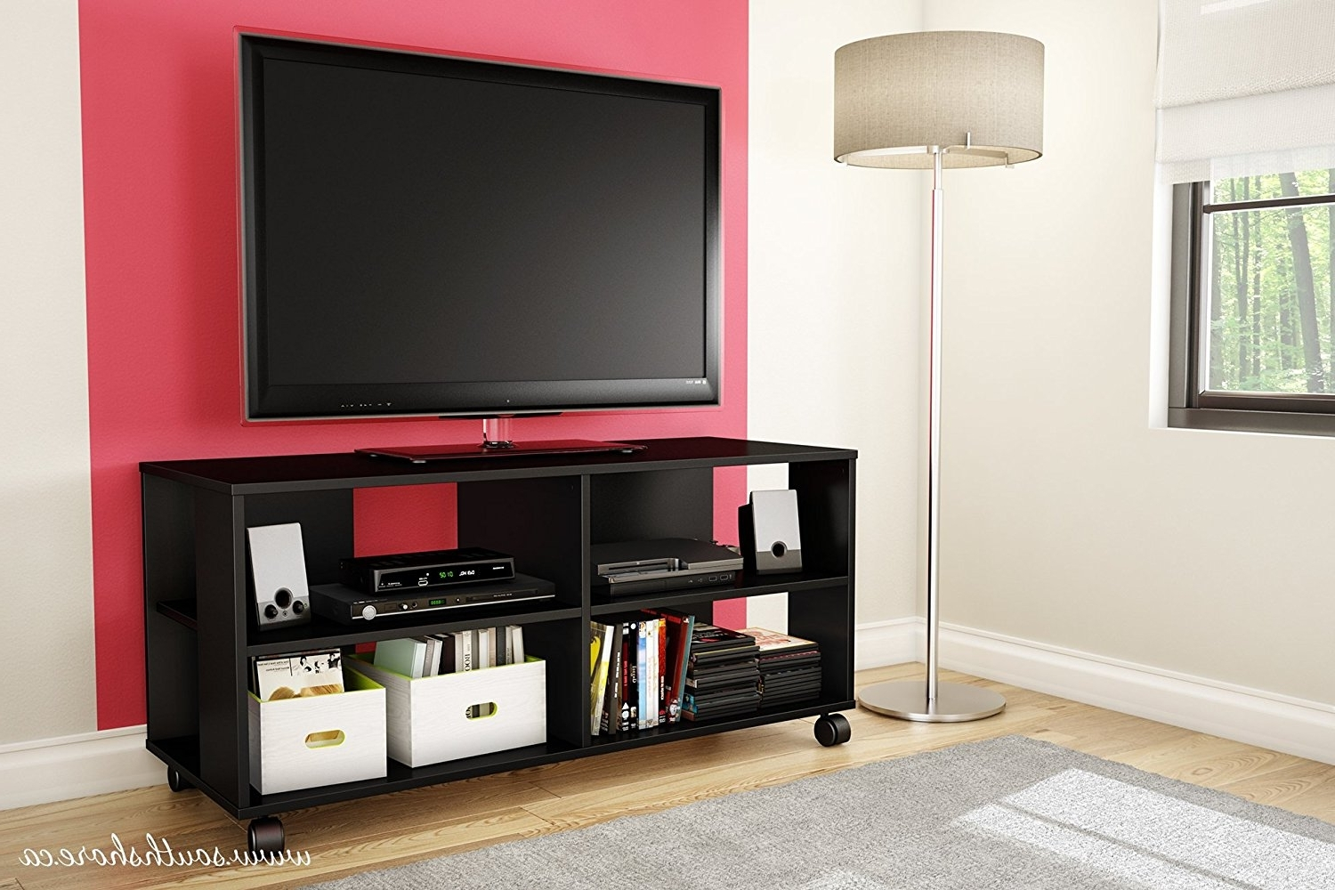 Tv Storage Units Within Most Recently Released Amazon: Jambory Tv Stand Storage Unit On Casters – Fits Tvs Up (View 15 of 15)