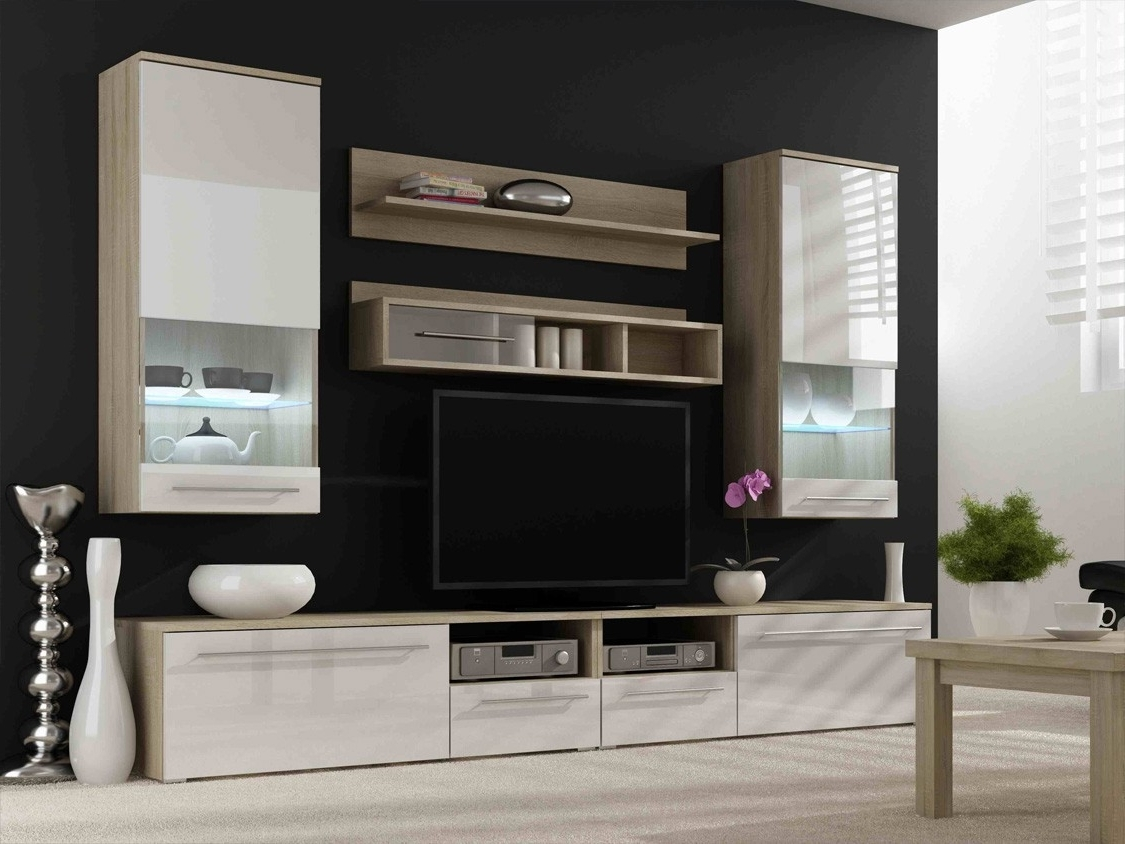 Tv Wall Unit Within Recent Awesome Led Tv Cabinet Designs For Living Room White Wall Mounted (View 3 of 15)