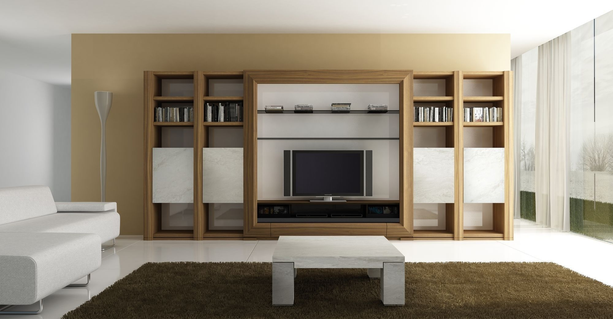 Tv Wall Units Inside Well Known Modern Book Cabinet Design Furniture Living  Room Gallery Including (