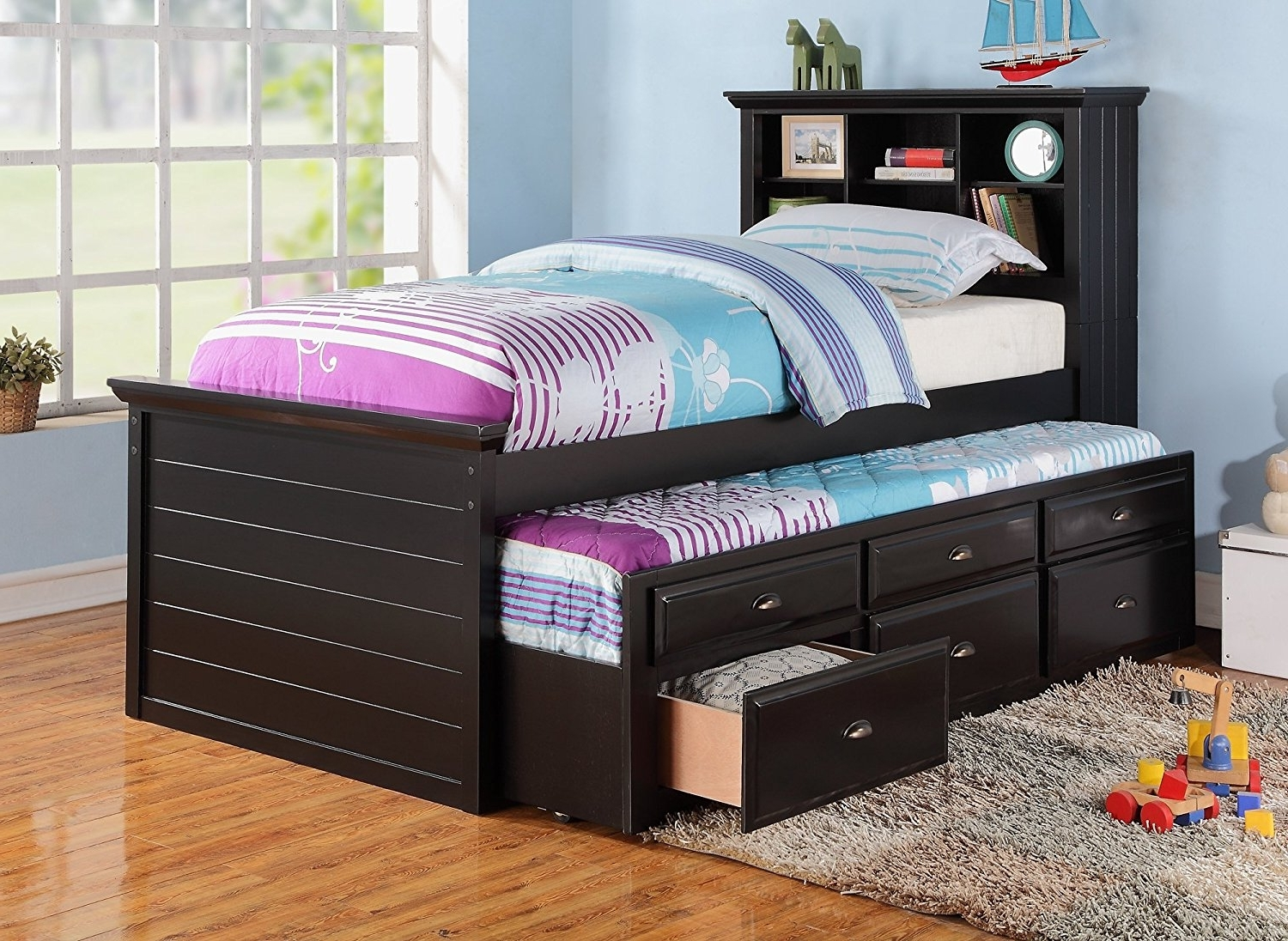 Twin Bed Bookcases With Well Liked Amazon: Black Captain Twin Bookcase Bed W/trundle Bed And (View 5 of 15)