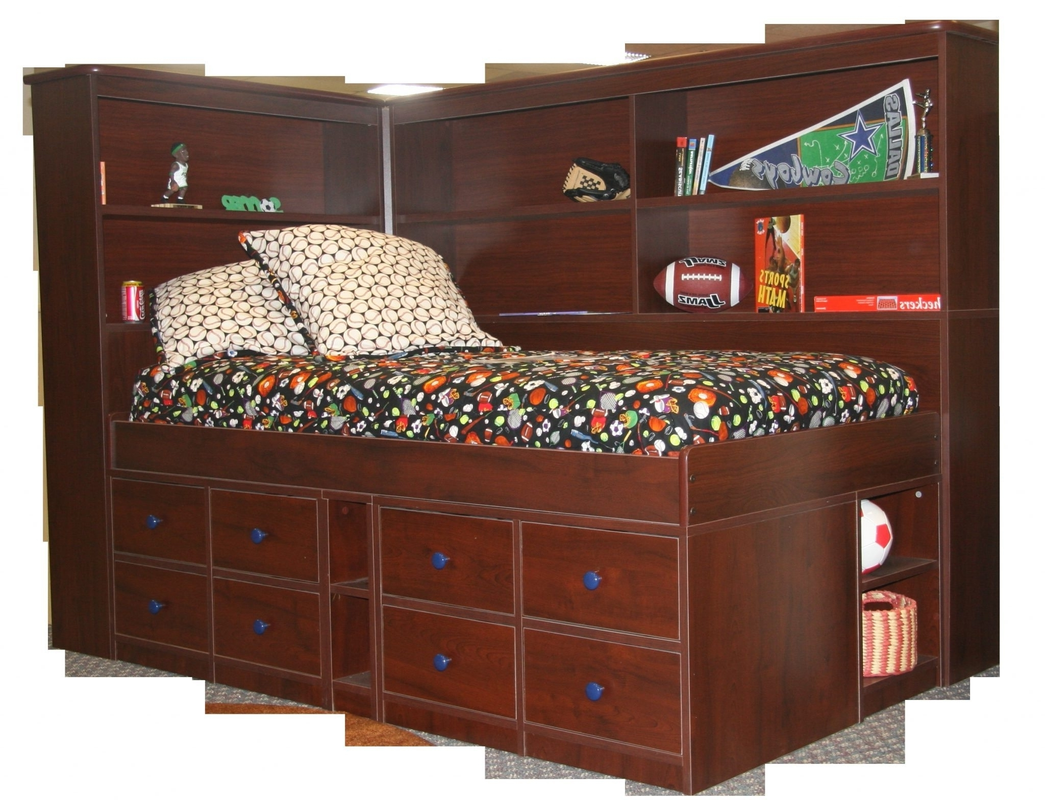 Twin Bed With Bookcases Headboard Intended For Well Known Twin Bed With Shelf Headboard • Shelves (View 13 of 15)