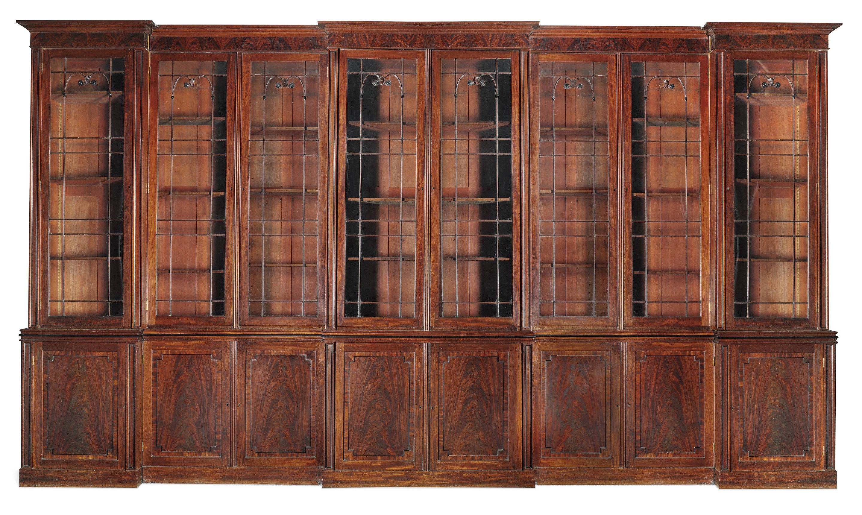 Very Large Regency Period Triple Breakfront Mahogany Bookcase (C Within Recent Breakfront Bookcases (View 13 of 15)