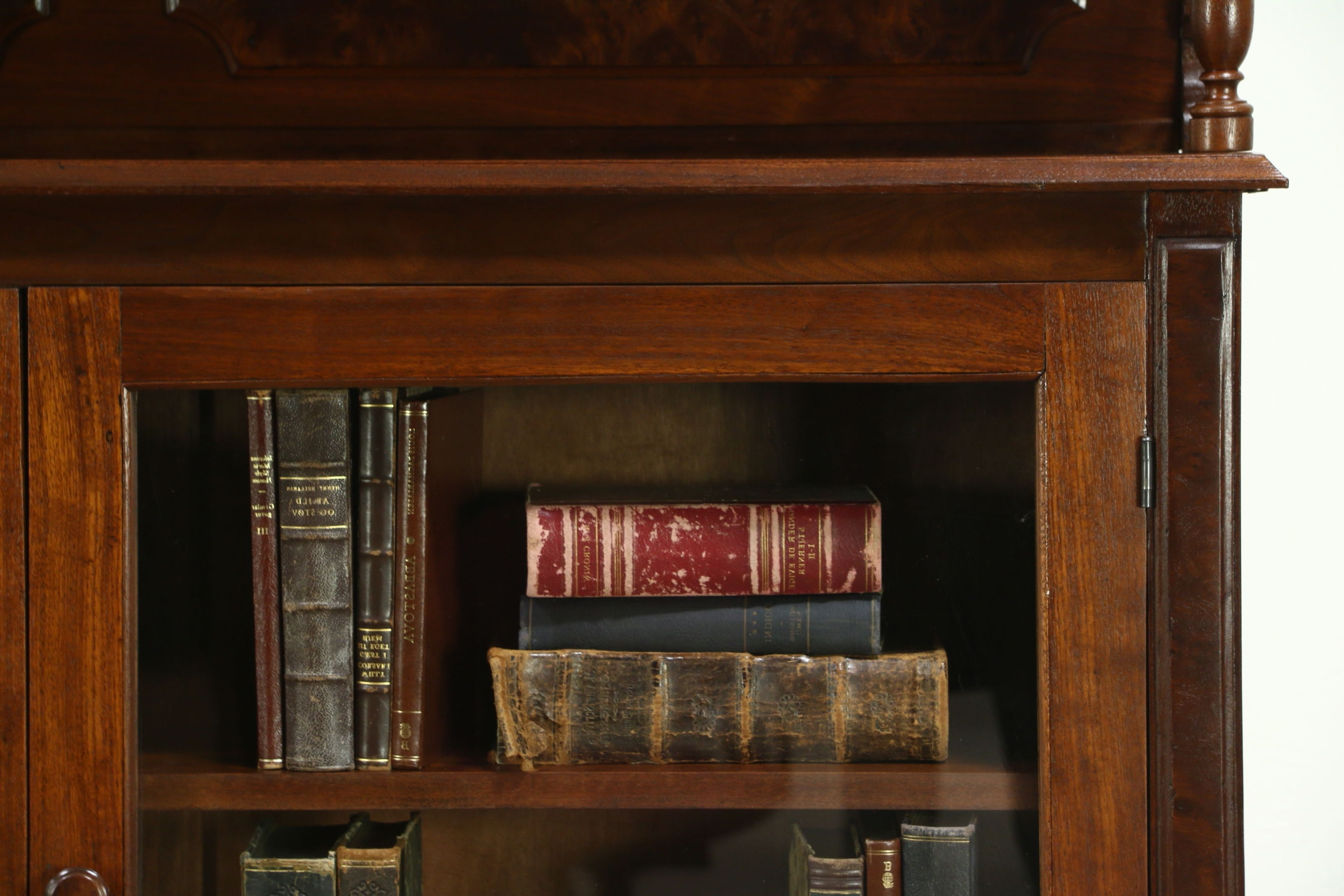 Victorian 1880 Antique Walnut Library Bookcase, Adjustable Shelves Throughout 2017 Walnut Bookcases (View 8 of 15)