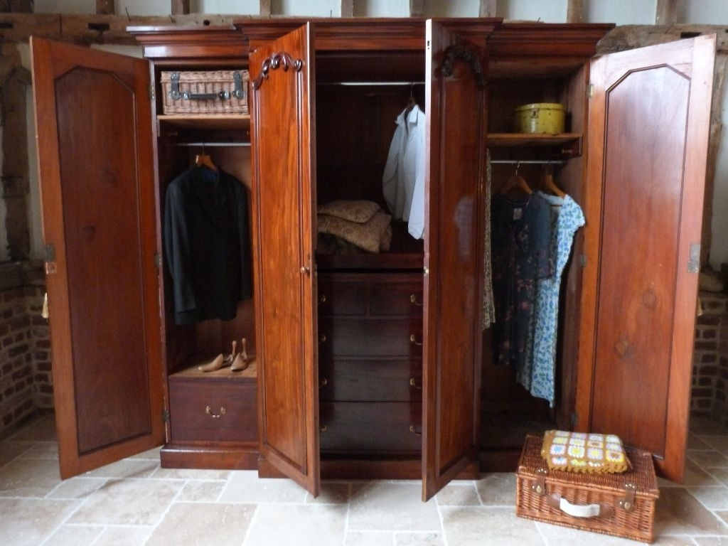 Victorian Flame Mahogany Breakfront Four Door Linen Press Within 2017 Victorian Breakfront Wardrobes (View 6 of 15)