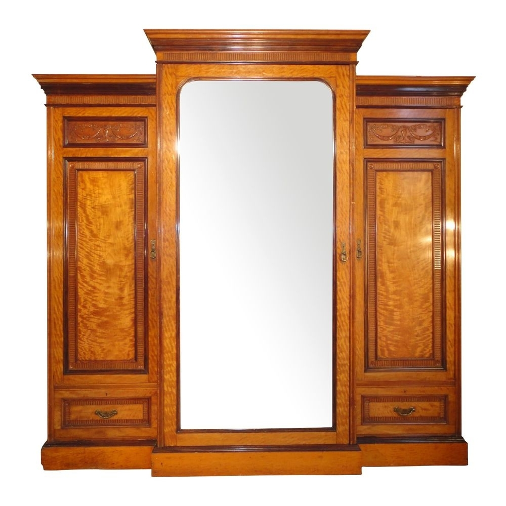 Victorian Satinwood & Rosewood Adam Style Three Door Breakfront Regarding Widely Used Breakfront Wardrobe (Gallery 13 of 15)