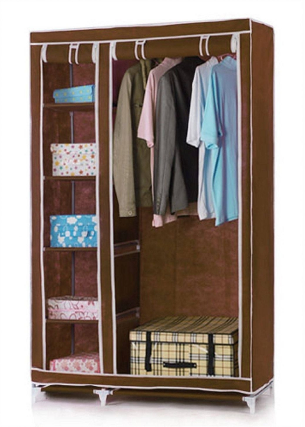 Vinsani Double Canvas Wardrobe Clothes Cupboard Storage W110cm X Pertaining To Current Double Canvas Wardrobes Rail Clothes Storage Cupboard (View 9 of 15)