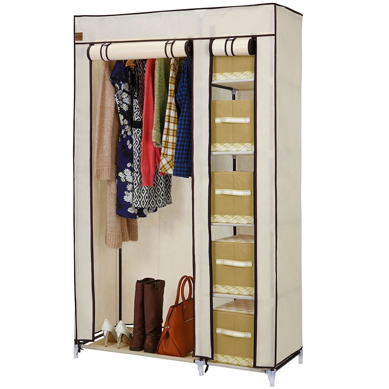 Vonhaus Double Canvas Effect Wardrobe – Clothes Storage Cupboard Pertaining To Trendy Double Canvas Wardrobes Rail Clothes Storage Cupboard (Gallery 1 of 15)