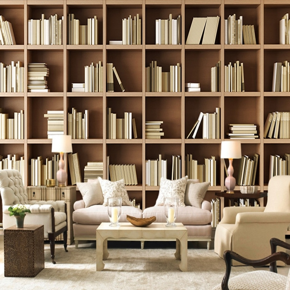 Wall Bookcases With Well Known Custom Mural Wallpaper Bookcase Library Living Room Sofa Bedroom (View 7 of 15)