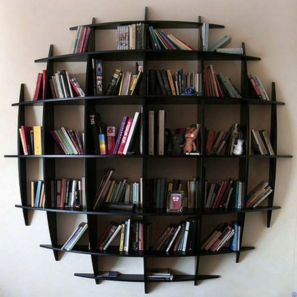Wall Mounted Bookcases In Preferred Appealing Round Wall Mounted Bookshelves In Artistic Design (View 3 of 15)