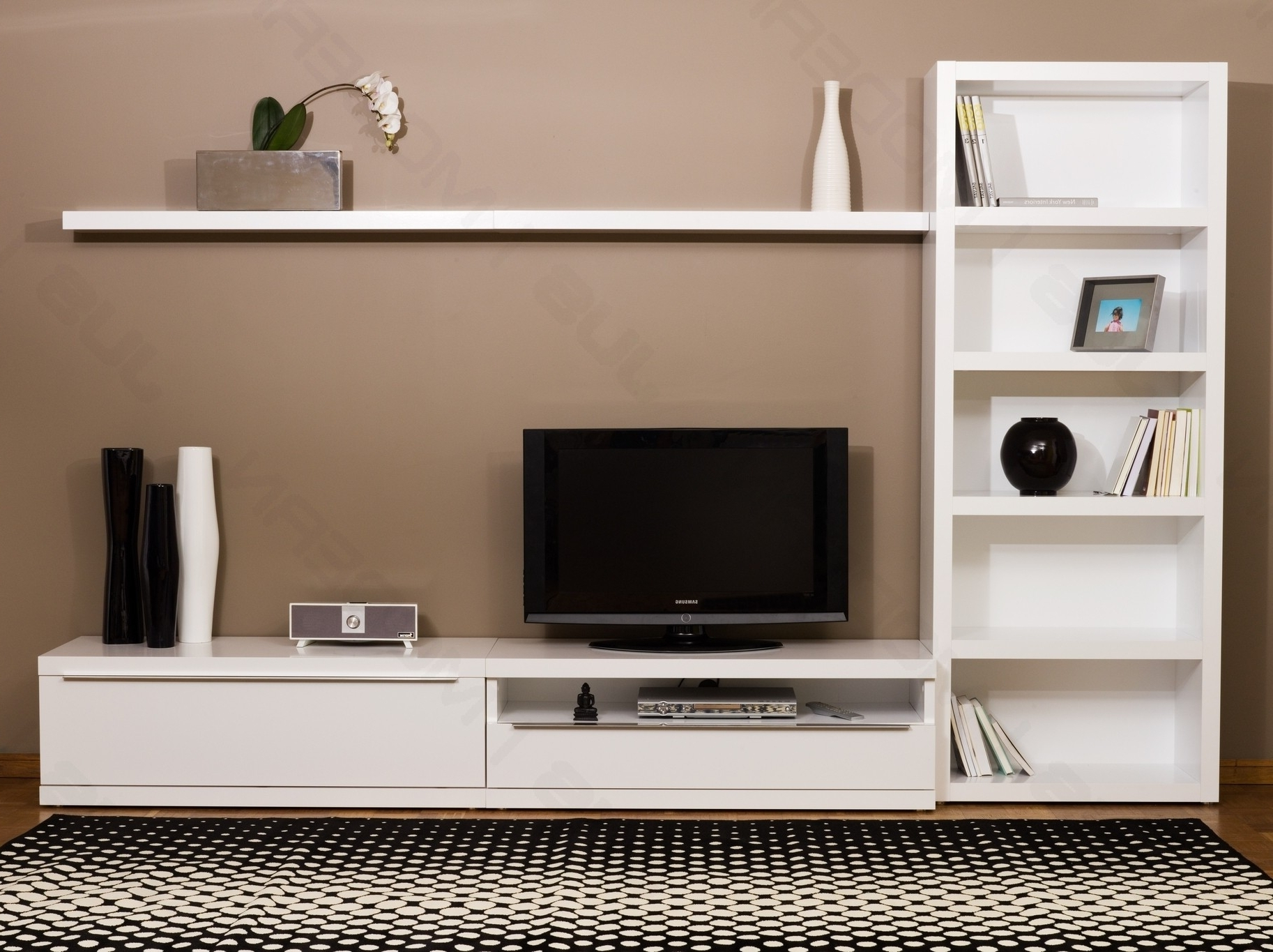 Wall Mounted Tv Stands Minimalist Stand An Trends Including Pertaining To Newest Tv Unit Bookcases (View 13 of 15)