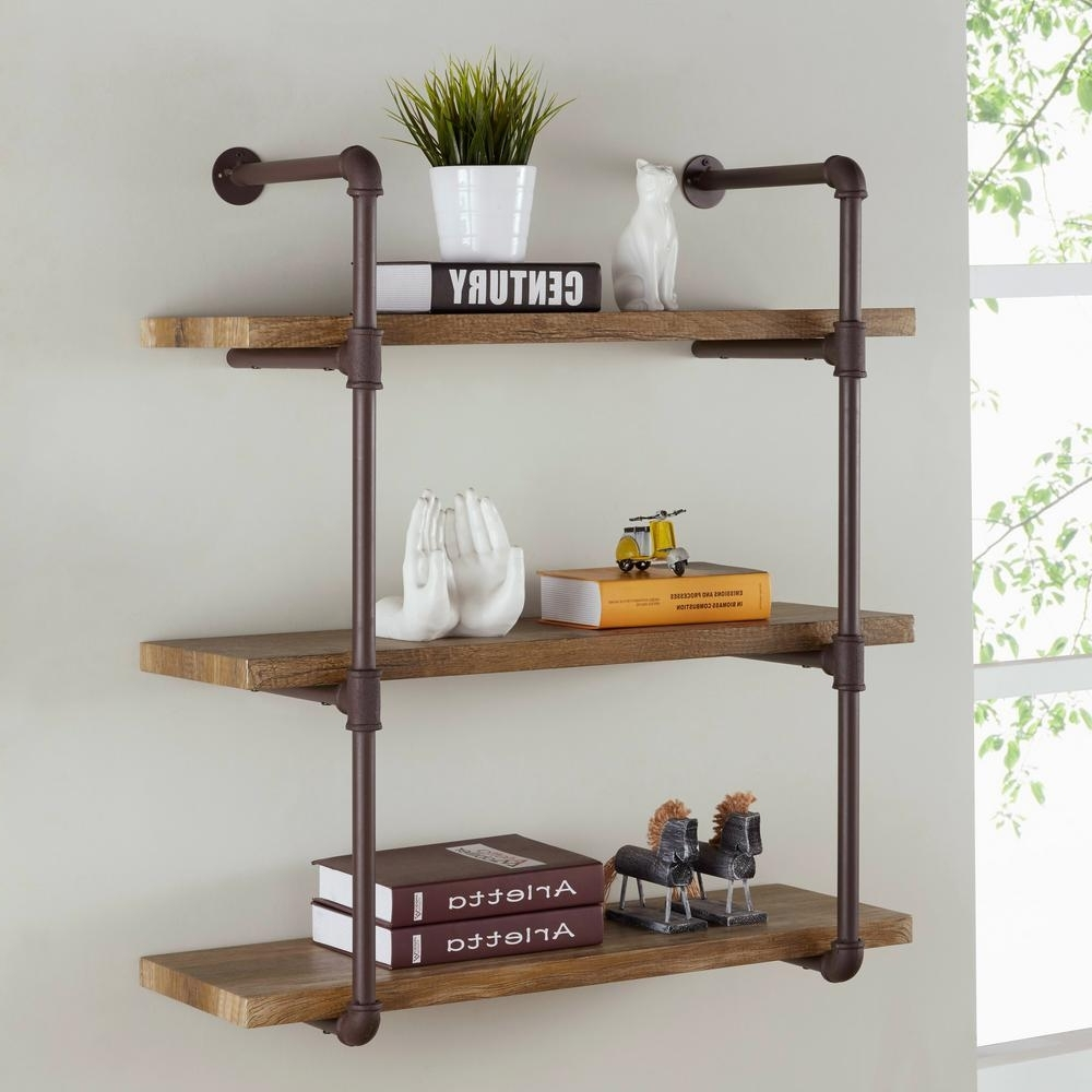 Wall Shelves Intended For Most Current Danya B Urbanne Industrial Aged 3 Tiered Wood Print Mdf And Metal (View 10 of 15)