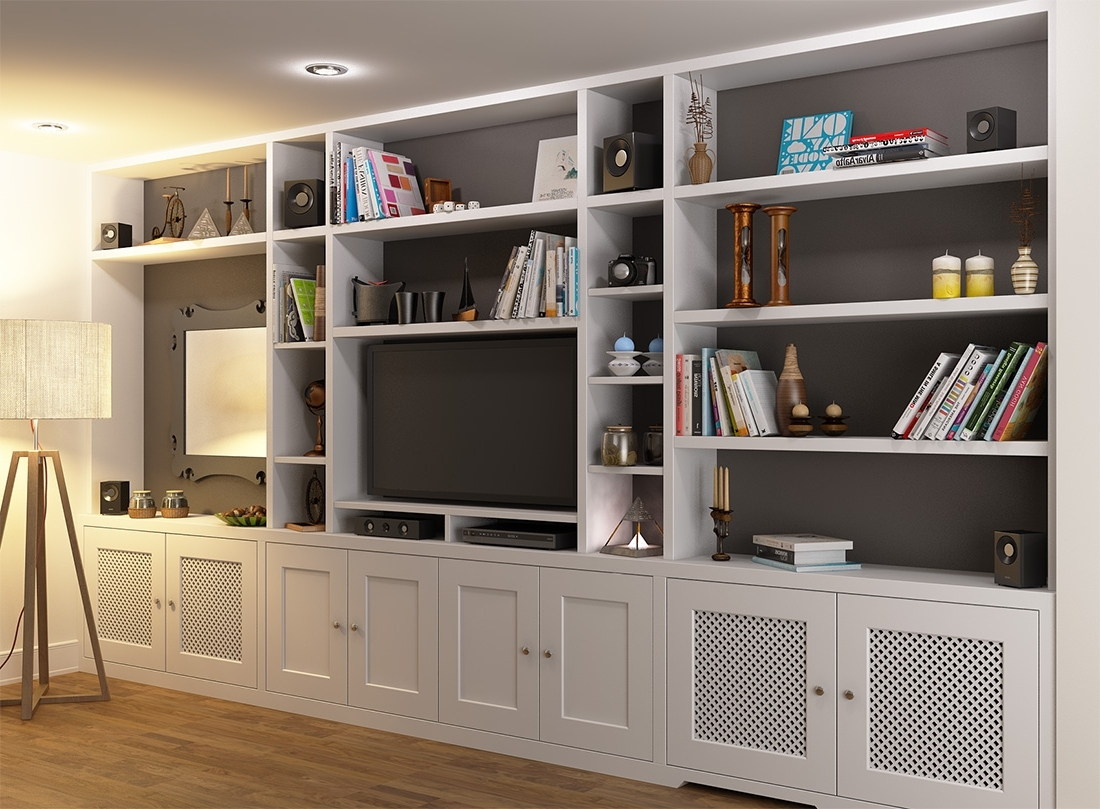 Wall Units: Amusing Tv Unit Bookcase Tv Bookshelf Unit, Tv In Favorite Fitted Shelving Systems (View 14 of 15)