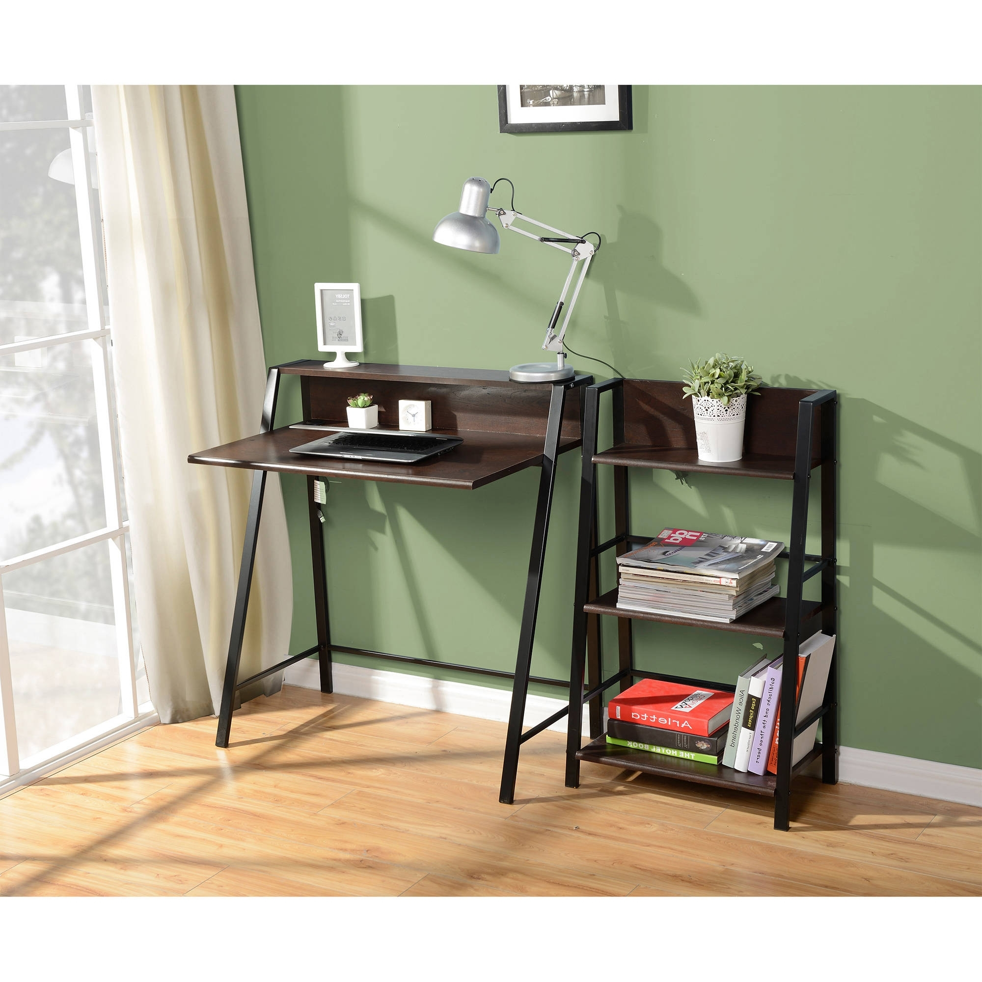 Walmart 3 Shelf Bookcases Pertaining To 2018 Mainstays 2 Tier Writing Desk & 3 Shelf Bookcase, Multiple (View 14 of 15)