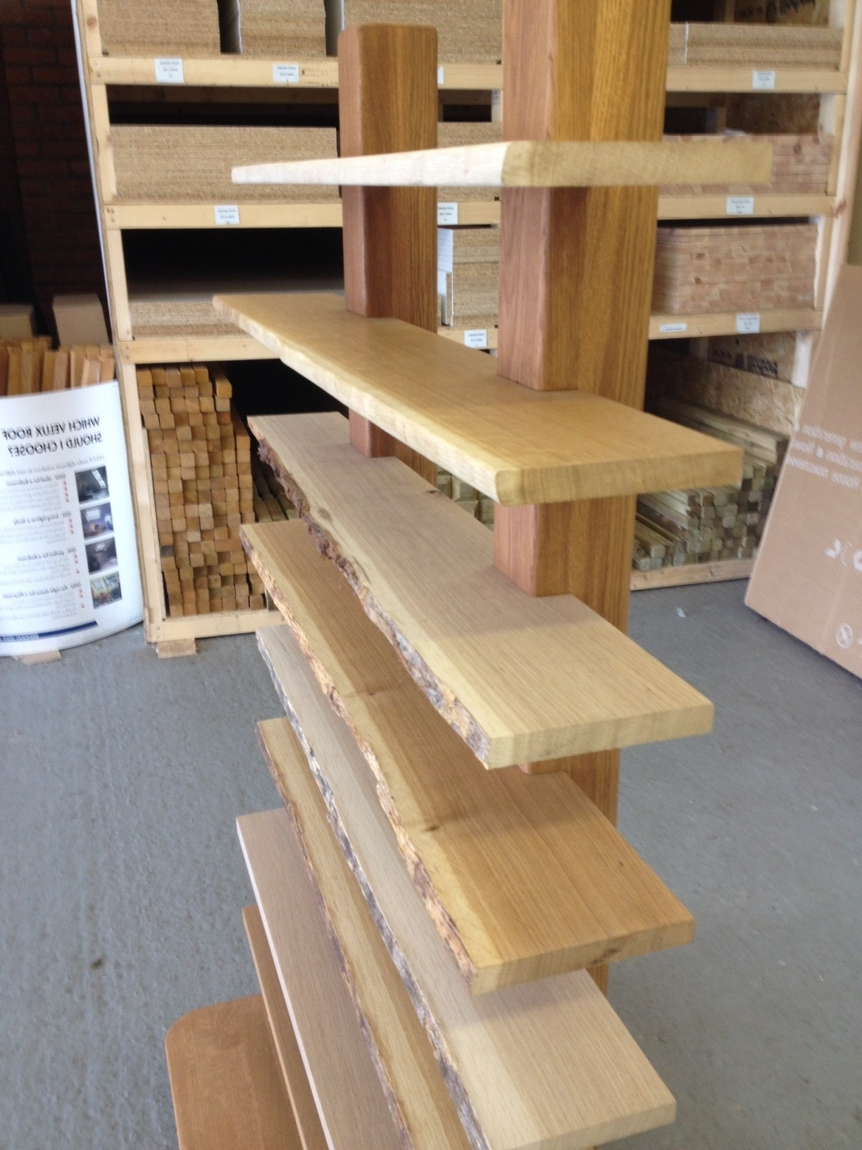 Waney Edge Oak Shelves (View 14 of 15)