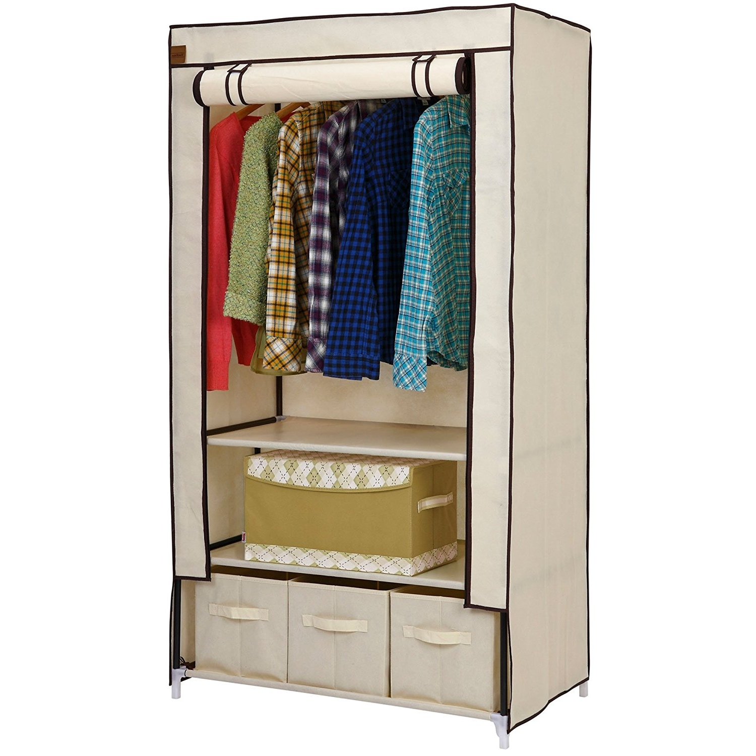 Wardrobe With Shelves And Drawers Inside Most Popular Vonhaus Double Canvas Effect Wardrobe – Clothes Storage Cupboard (View 14 of 15)