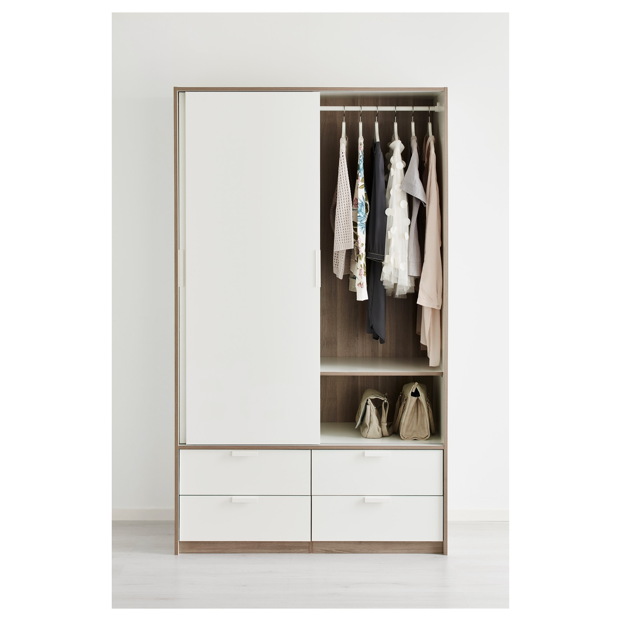 Wardrobes With Shelves And Drawers Regarding Trendy Trysil Wardrobe W Sliding Doors/4 Drawers White 118X61X202 Cm – Ikea (View 12 of 15)