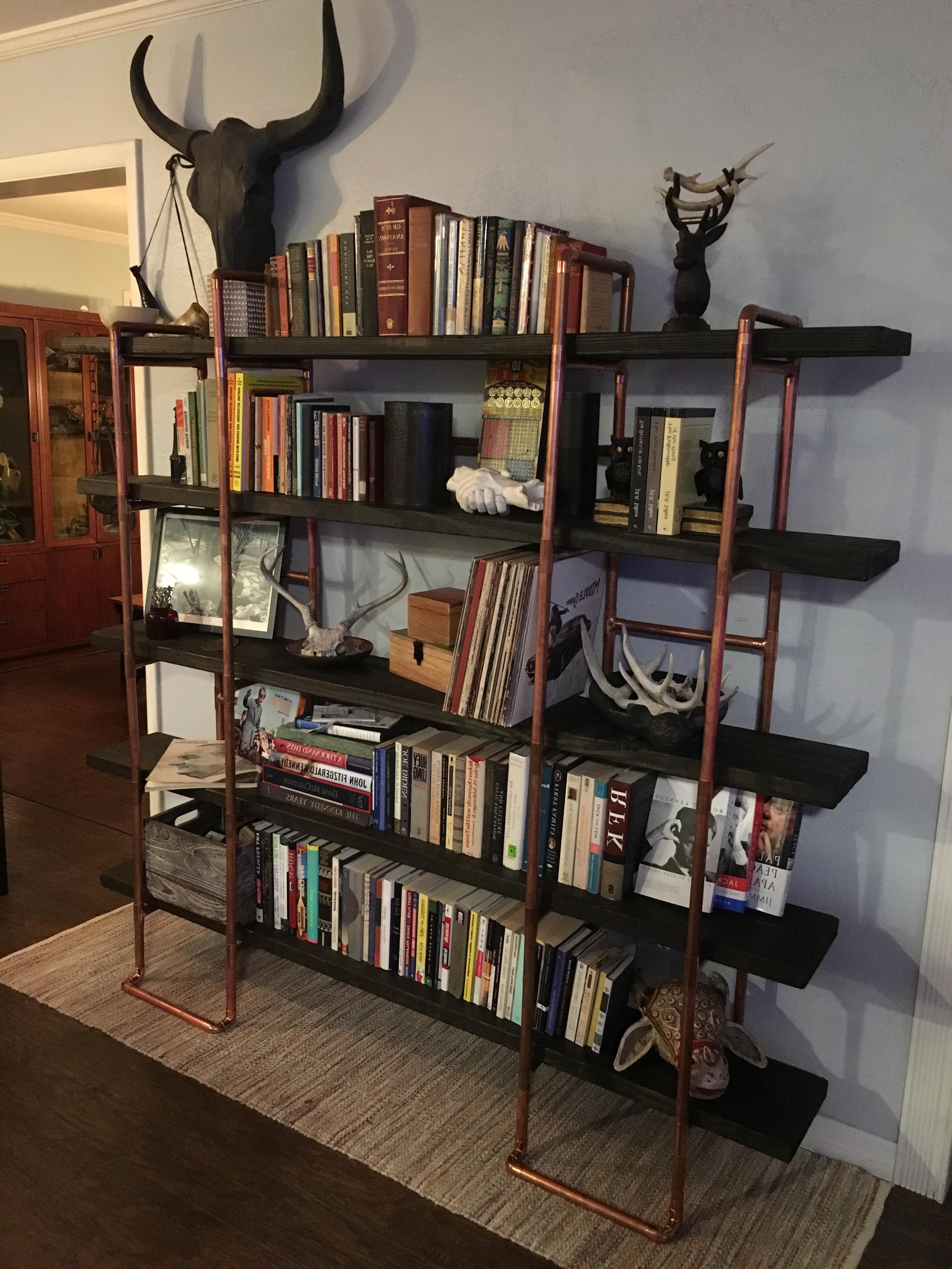 We Built A Bookshelf Out Of Copper Pipe And Wood (#quickcrafter Inside Widely Used Handmade Bookshelves (View 6 of 15)