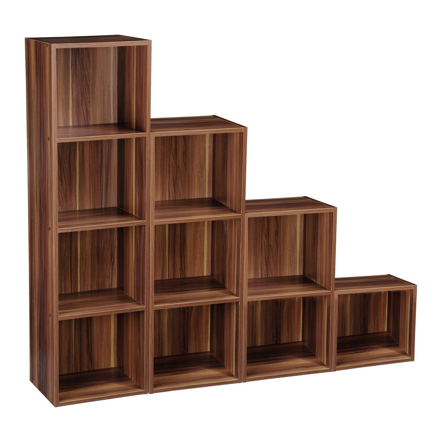 Well Known 2 4 Tier Wooden Bookcase Shelving Bookshelf Storage Furniture Cube In Wooden Bookshelves (View 9 of 15)