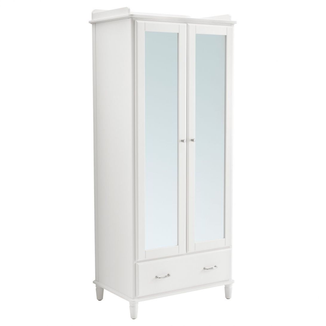 Well Known 2 Door Mirrored Wardrobe White With Mirror Cheap Gloss Armoire 3 Regarding White Wardrobes Armoire (View 9 of 15)