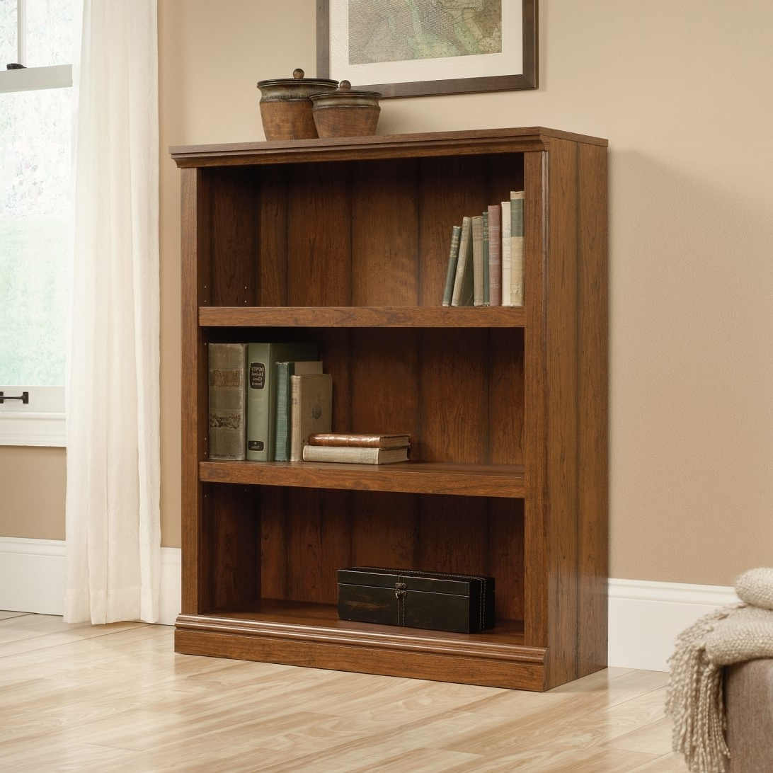 Well Known Ameriwood 3 Shelf Bookcases Pertaining To Chrome And Glass Bookcase With Sauder Beginnings 3 Shelf Together (View 9 of 15)