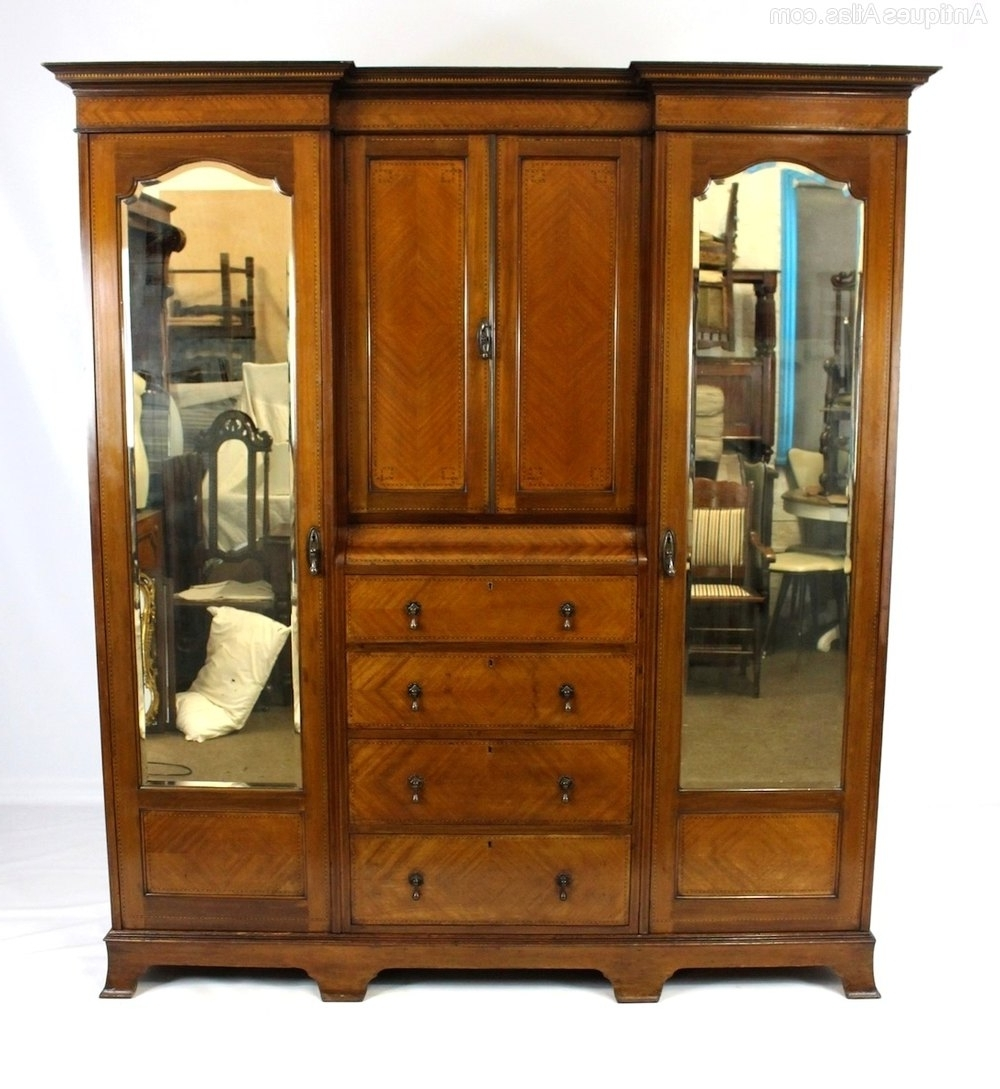 Well Known Antique Breakfront Wardrobes Intended For Antique Inlaid Breakfront Compactum Wardrobe – Antiques Atlas (View 14 of 15)