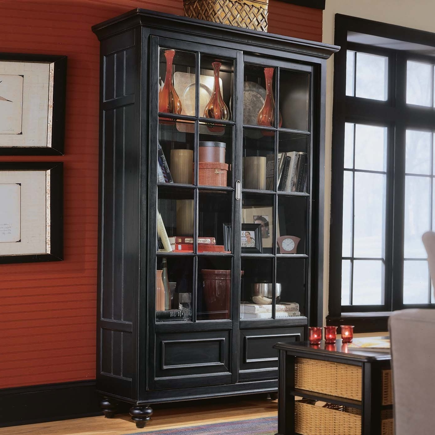 Well Known Black Bookcases With Glass Doors With Regard To Tall Black Wood Bookshelf With Glass Sliding Doors On Red Wall (View 2 of 15)
