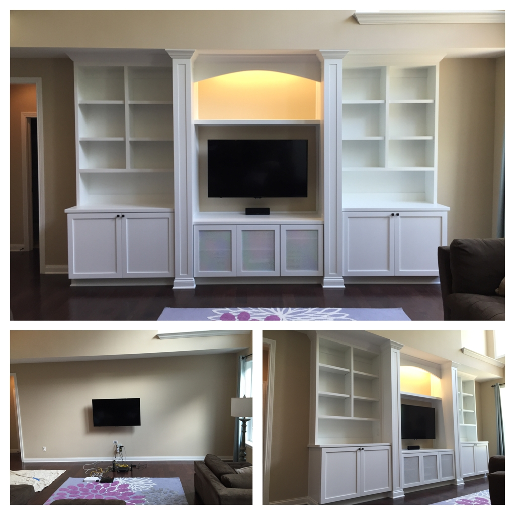 Well Known Bookshelves With Cabinet Base Intended For Custom Built In With Base Cabinets, Bookshelves, Columns, Led (View 4 of 15)