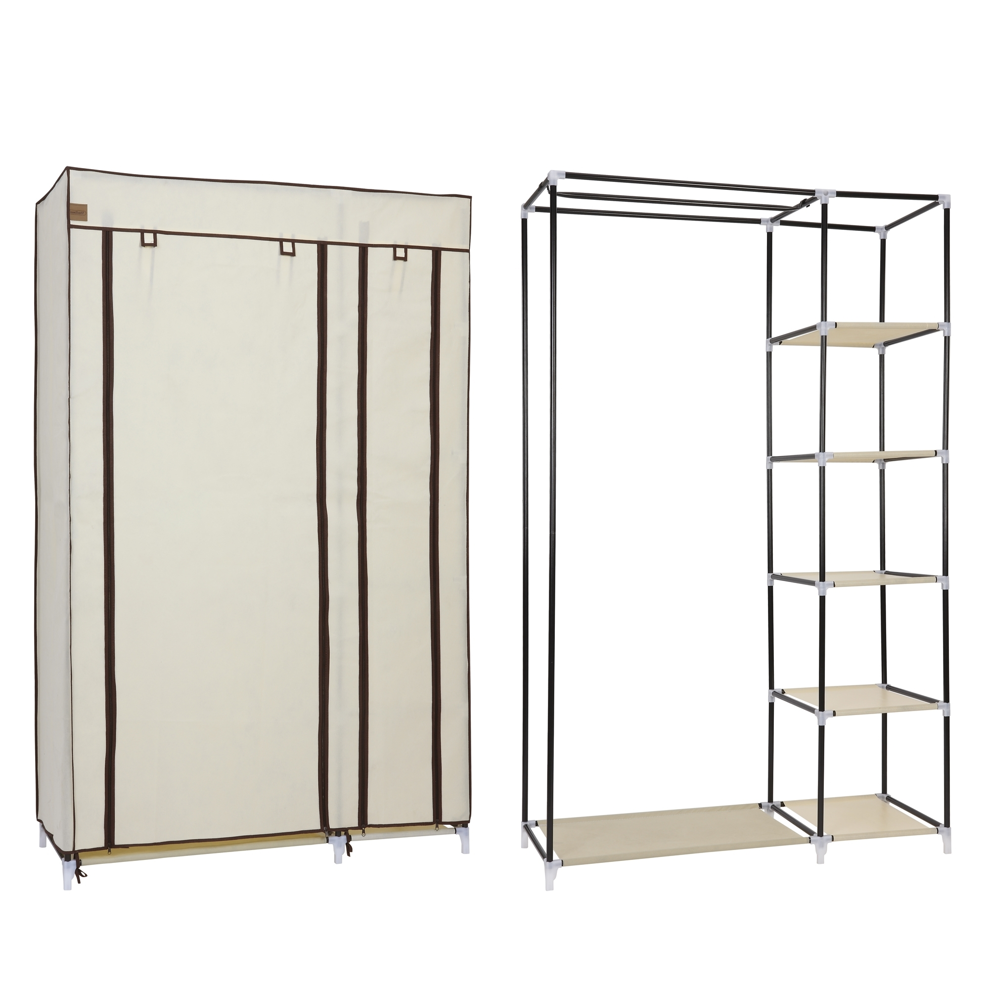 Well Known Double Clothes Rail Wardrobes For Vonhaus Double Canvas Effect Wardrobe Clothes Hanging Rail Shelves (View 3 of 15)