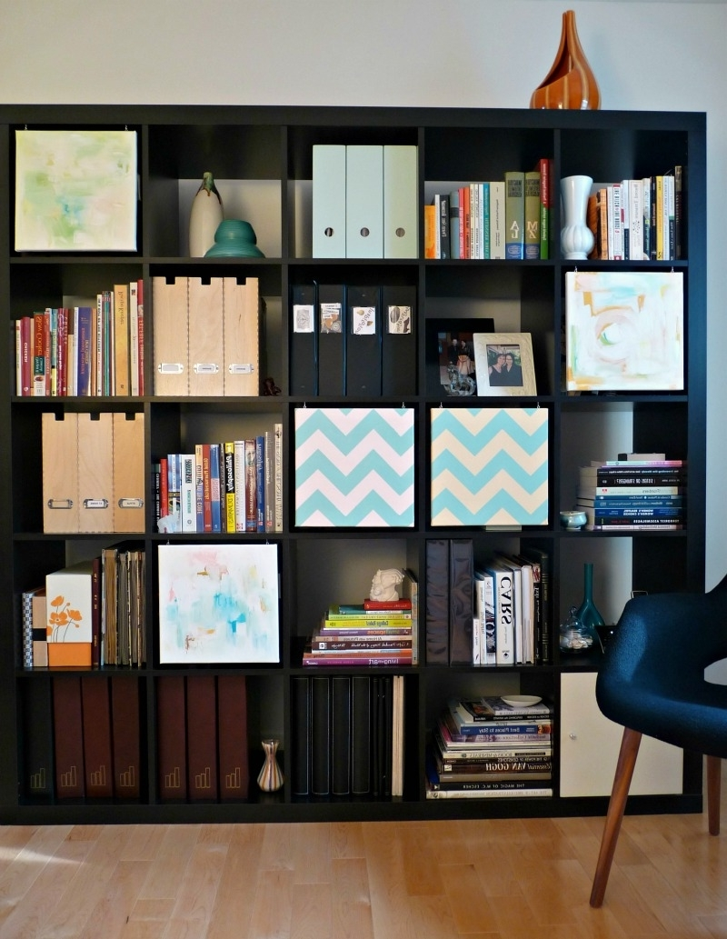 "Well Known Expedit Bookcases Regarding Expedit From Ikea With Diy Hanging 12""x12"" Canvases To Hide (View 2 of 15)"