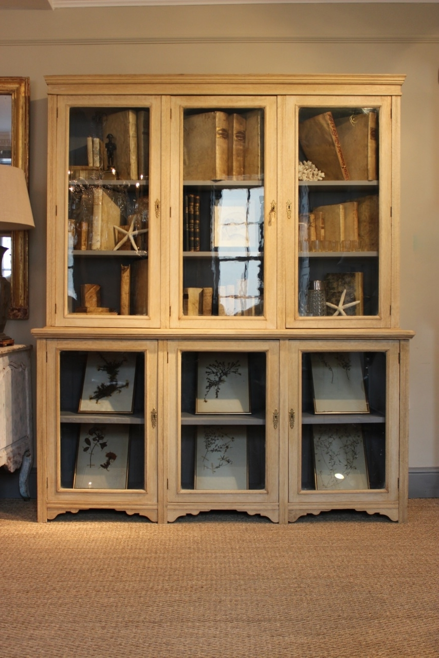 Well Known Glazed Bookcases Pertaining To Circa 1900/1920S Bleached Oak Glazed Bookcase / Display Cabinet (View 14 of 15)