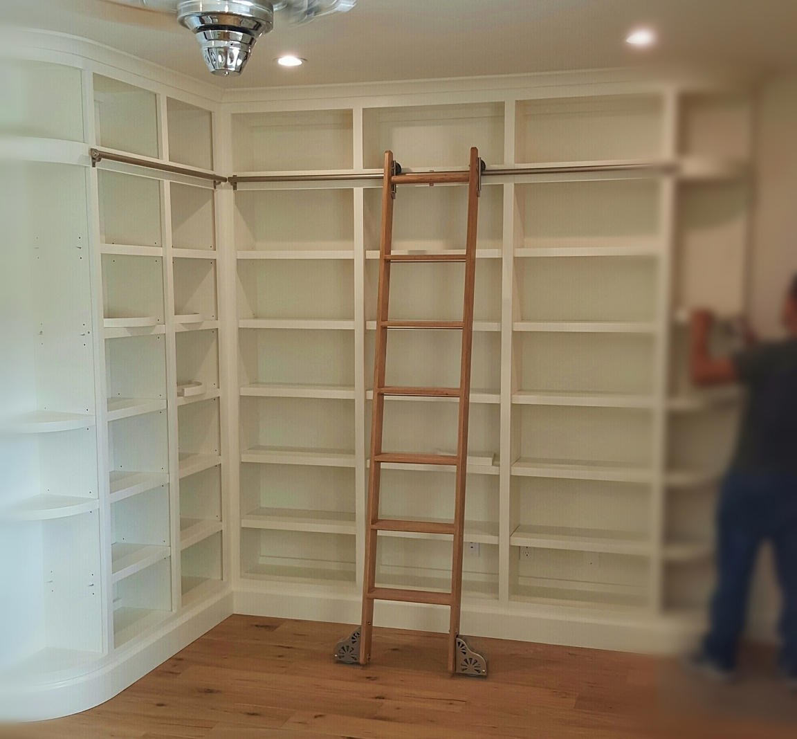 Well Known Handmade Bookcases Within Custom Made Bookshelves Built In With Rolling Ladders Home  (View 12 of 15)