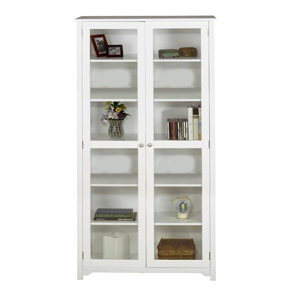 Well Known Home Decorators Collection Oxford White Glass Door Bookcase Inside White Bookcases With Doors (View 7 of 15)