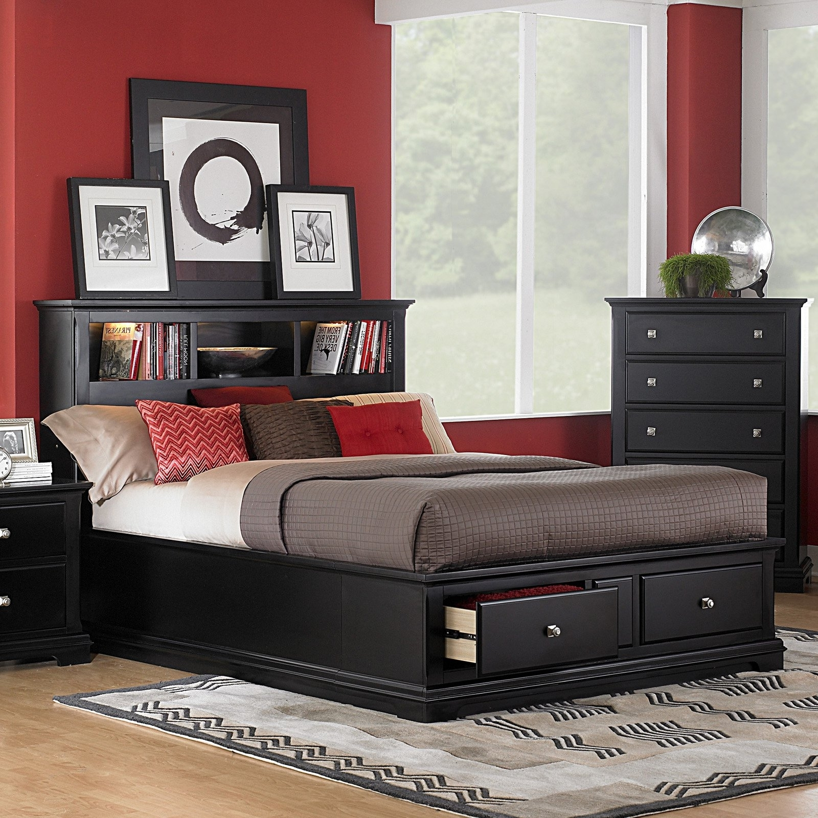 Well Known King Size Bookcases Headboard Within Black Wooden King Size Bed Frame With Drawer Storage And Bookcase (View 14 of 15)