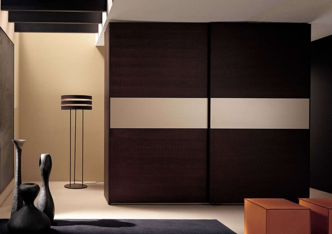 Well Known Large Wooden Wardrobes In Excellent Brown Textured Wood Sliding Door Wardrobe Design Bedroom (View 14 of 15)