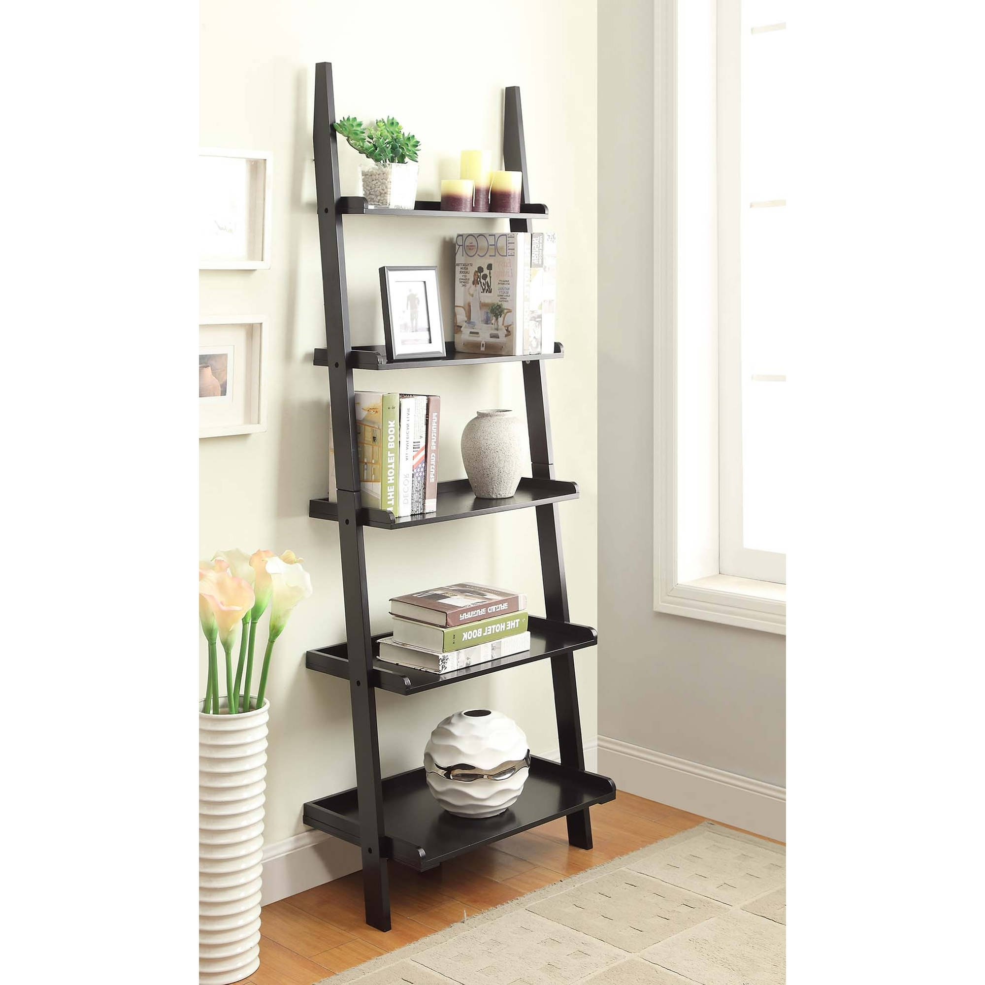 Well Known Leaning Bookcases Throughout Convenience Concepts American Heritage 5 Shelf Bookshelf Ladder (View 3 of 15)